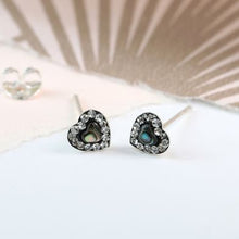 Load image into Gallery viewer, Sterling Silver Crystal Heart Stud