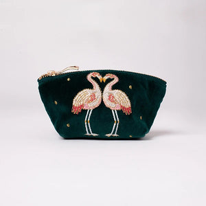 Kissing Flamingo Velvet Coin Purse