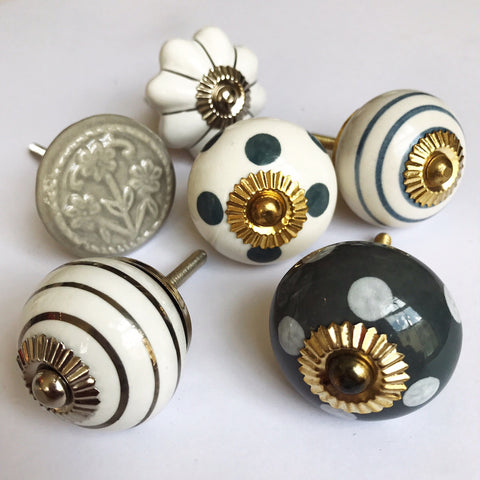 Set of Drawer Knobs in Greys and Whites