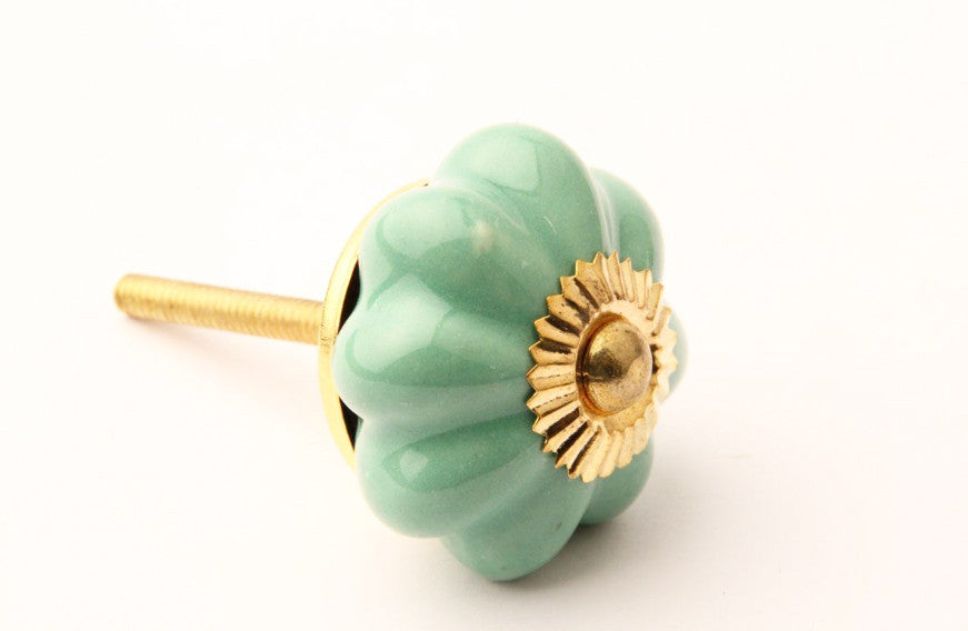 Flower Drawer Knob Green