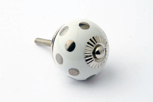 Polka Dot Drawer Knob Silver