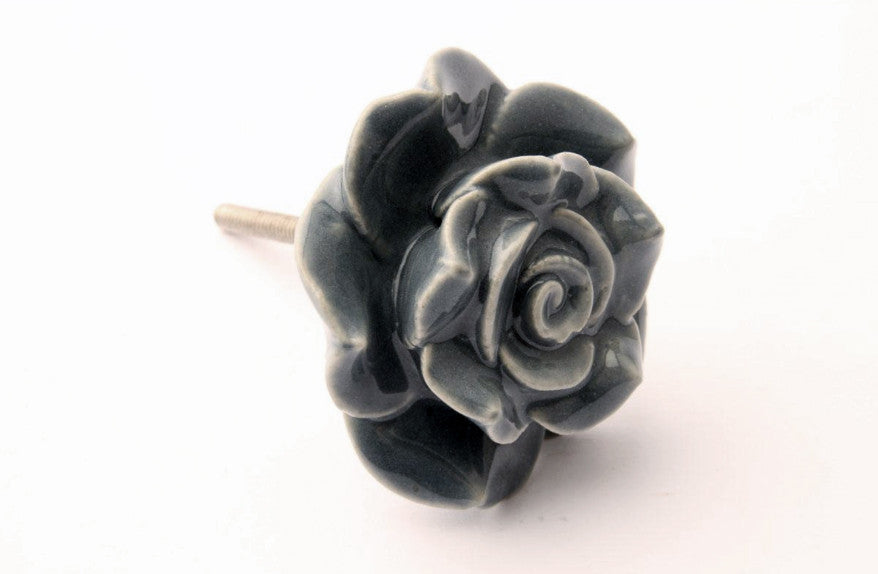 Rose Design Drawer Knob Grey