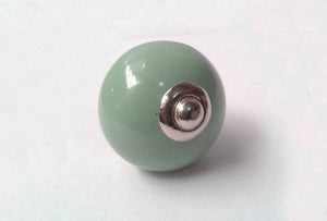 Round Ceramic Drawer Knob Green
