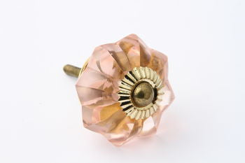 Vintage Style Glass Flower Drawer Knob Light Pink