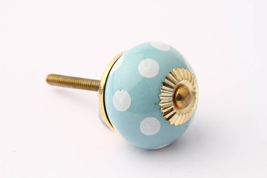 Polka Dot Drawer Knob Blue with White