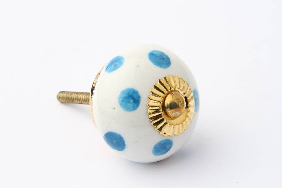 Polka Dot Drawer Knob Light Blue