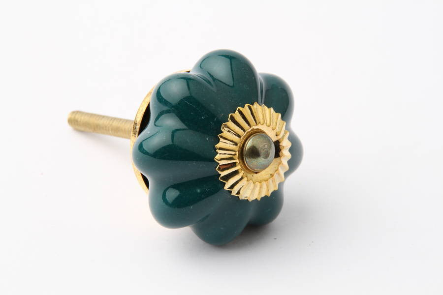Flower Drawer Knob Teal