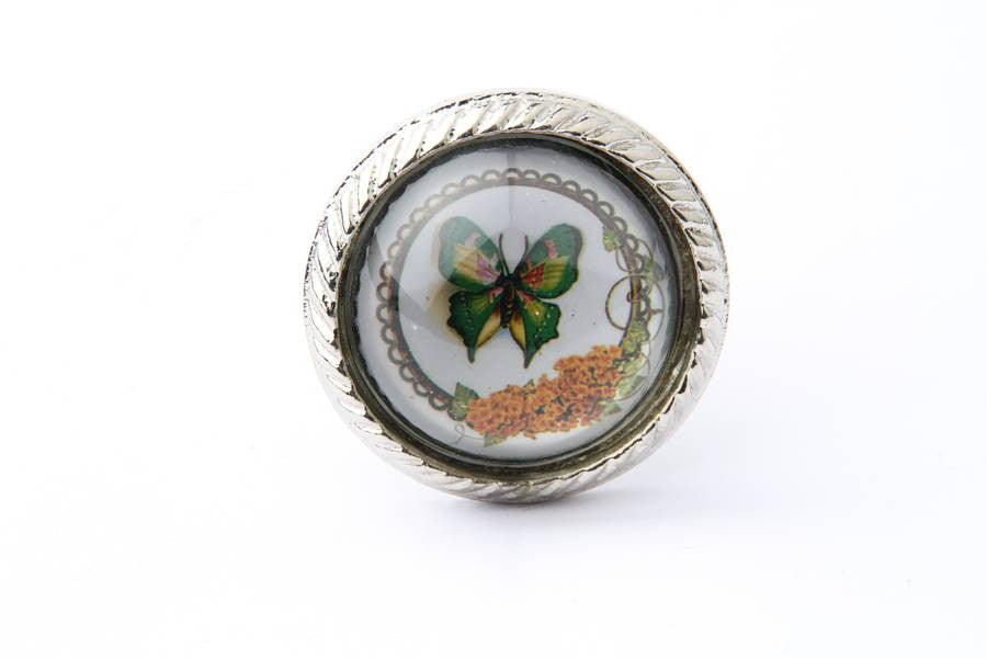 Green Butterfly Drawer Knob