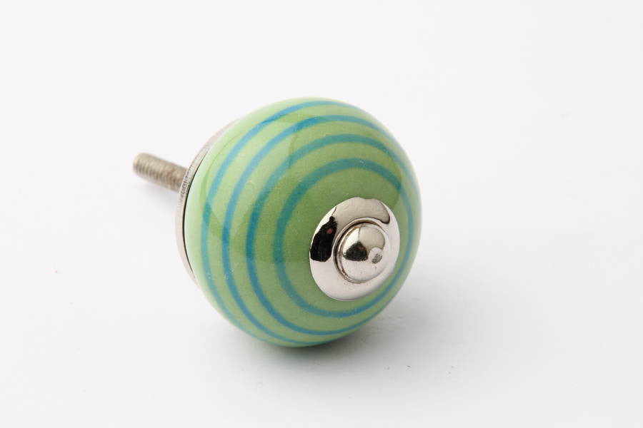 Striped Ceramic Drawer Knob Green