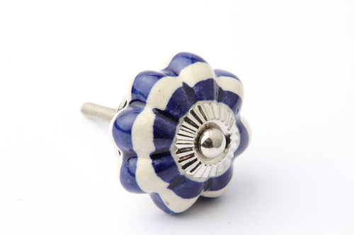 Flower Pattern Striped Drawer Knob