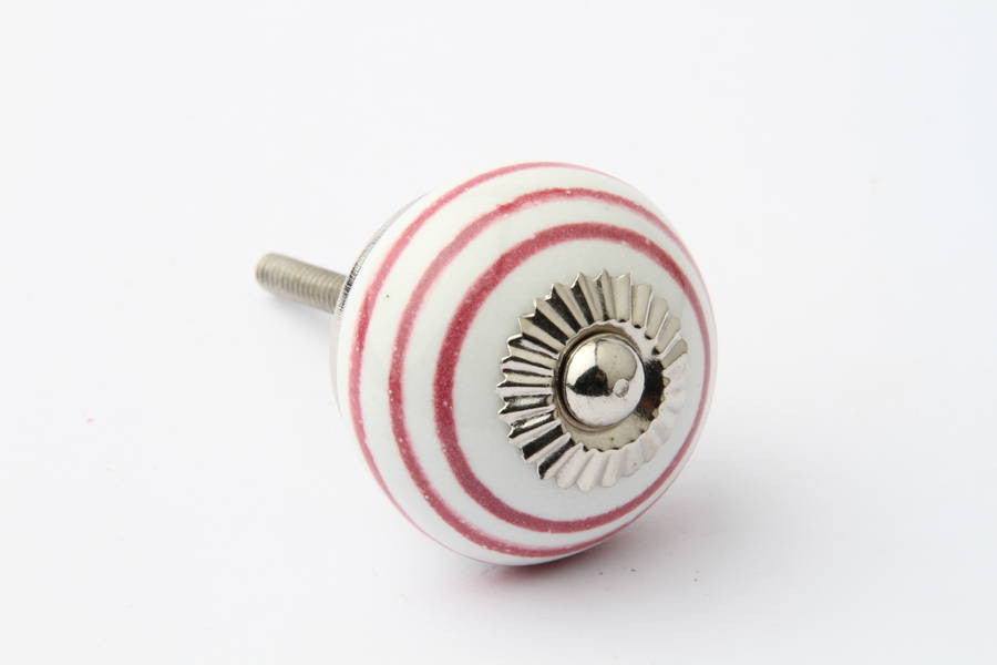 Striped Drawer Knob Maroon