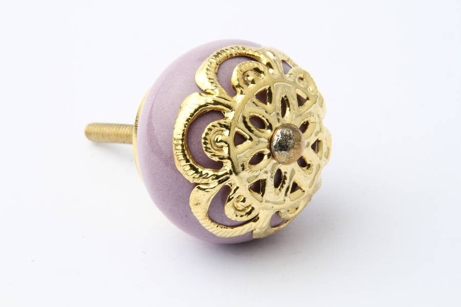 Gold Design Purple Drawer Knob