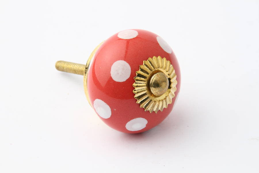 Polka Dot Drawer Knob Red with White