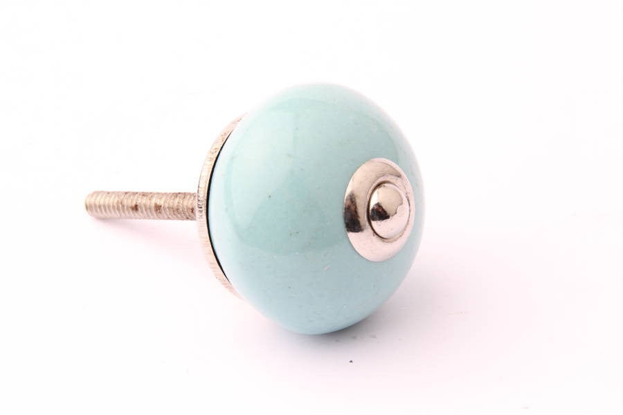Round Ceramic Drawer Knob Turquoise