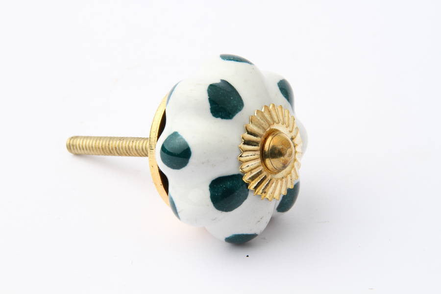 Flower Drawer Knob with Teal Dots