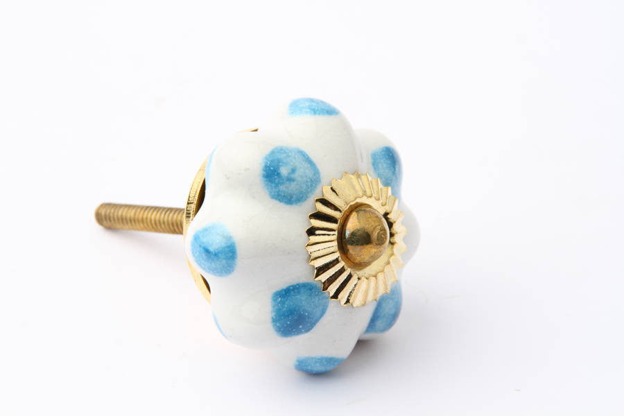 Flower Drawer Knob with Blue Dots