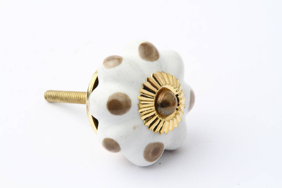 Flower Drawer Knob with Brown Dots