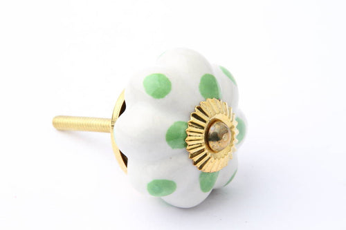 Flower Drawer Knob with Green Dots