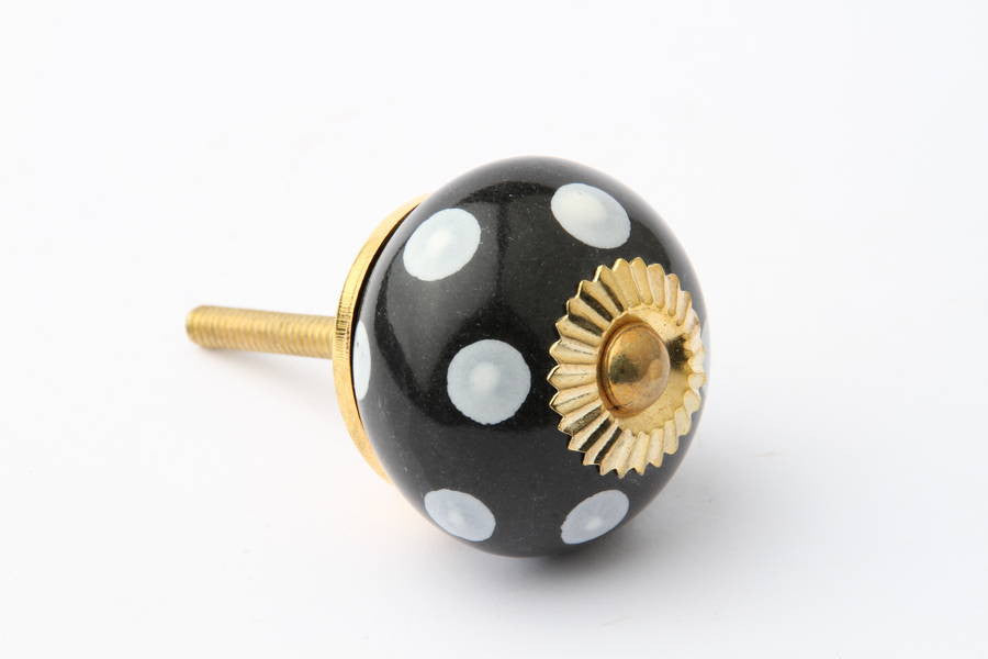 Polka Dot Drawer Knob Black with White