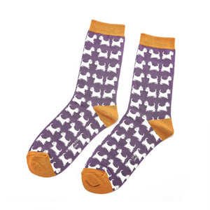 Ladies Scottie Dog Bamboo Socks