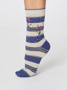 Ladies Floral and Stripe Bamboo Socks