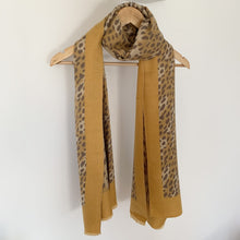 Load image into Gallery viewer, Leopard Print Scarf Mustard