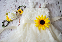 Load image into Gallery viewer, Rustic Sunflower Flower Girl Dress..Sunflower Sash and Headband Lace Flower Girl Dress..Cowboy Girl Outfit.Flower Girl Gift...Photo Prop