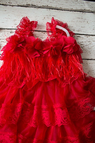 Red Rustic Lace Flower Girl Dress, Flower Girl Dress