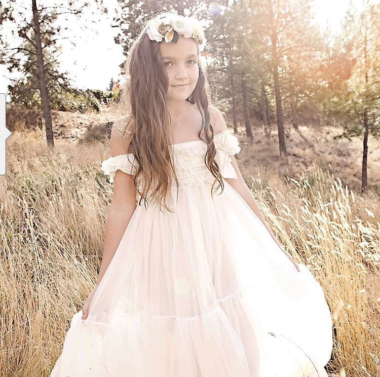 4107dd5b0 Rustic Flower Girl Dress, Ivory Flower Girl Dress With Headband And Sash