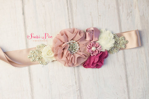 Bridal Sash Flower Girl Sash...Bridal Belt / Sash..Bridesmaid Sashes..Maternity Sash...Blush  / Flower Girl Sashes