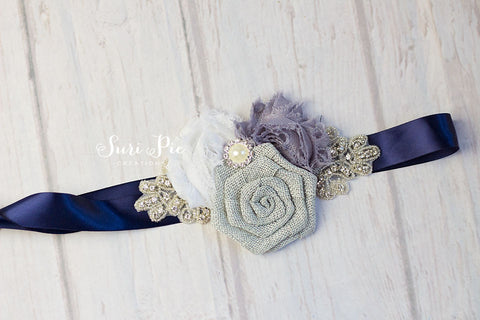 Gray Navy Flower Girl Sash...Bridal Belt / Sash..Bridesmaid Sashes..Maternity Sash...Blush  / Flower Girl Sashes