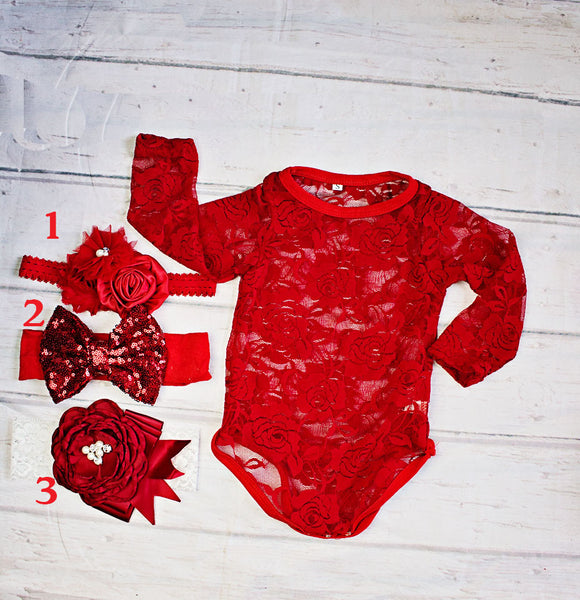 Copy of Baby Christmas Outfit...Baby Girl Red Christmas Top..Baby Headband/First Christmas Outfit...Santa Pictures..Baby Girl Birthday