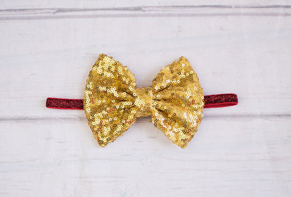 Gold Sparkly Messy Bow..Baby Christmas Headband, baby headbands, Christmas Red White Stripes top knot..messy bow, floppy bow headband