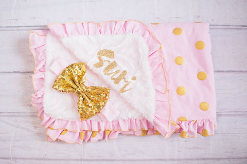 Baby Minky..Baby Blanket..Pink Gold Baby Blanket..Newborn Blanket..Trendy Baby..Personalized Baby Blanket-Toddler Blanket..Pink Baby Blanket