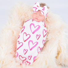 Load image into Gallery viewer, Newborn Girl Swaddle & Headband Set- Hot Pink Hearts
