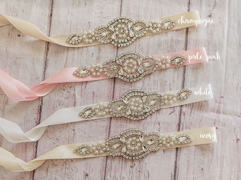 Flower Girl Sashes...Rhinestone Belt -Flower Girl Sash..Bridal Belt/ Sash..Bridesmaid Coordinating Sashes..Maternity Sash / Wedding Sash