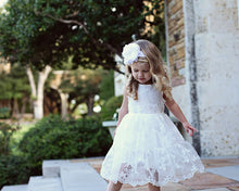 Load image into Gallery viewer, White Flower Girl Dress / Country Flower Girl Dress / Lace Dress..Rustic Flower Girl / Ivory Lace Flower Girl Dress / White