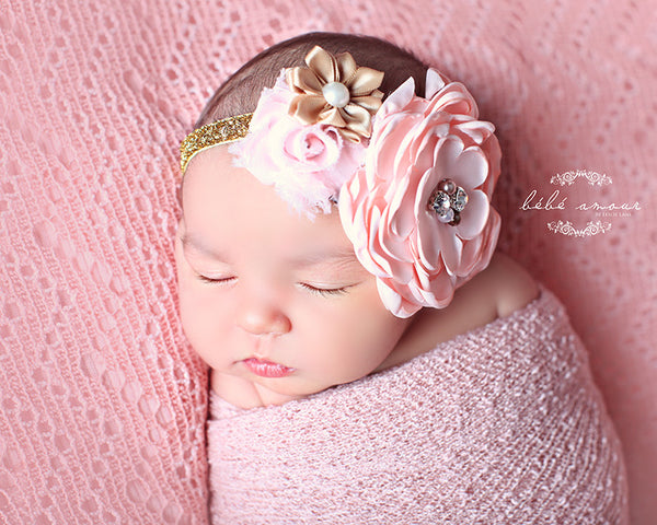 baby headband...pink and gold headband newborn headband..baby girl headband...pink gold headband..newborn headband..photography prop