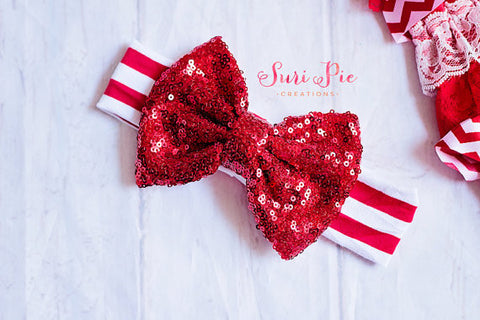 Red Sparkly Messy Bow..Baby Christmas Headband, baby headbands, Christmas Red White Stripes top knot..messy bow, floppy bow headband