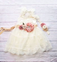 Load image into Gallery viewer, Rustic Flower Girl Dress, Ivory Flower Girl Dress, Rustic Flower Girl Dress with sash, Flower Girl Outfit,Wedding Dress, Ivory Wedding Dress