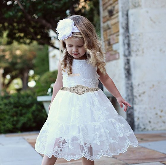 Rustic Flower Girl Dress, Rustic Flower Girl Dress, White Lace Dress, Lace Flower Girl Dress, Beach Wedding Dress, Lace Flower Girl Dress