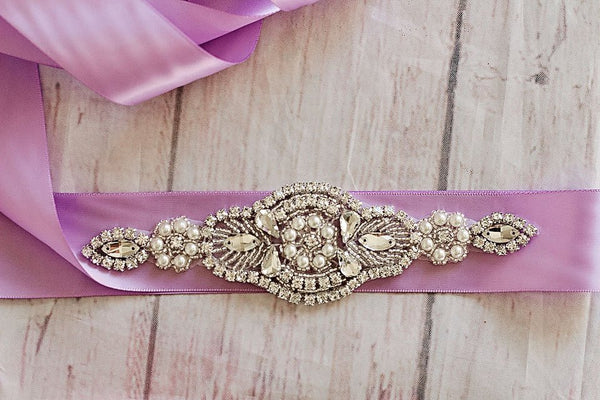 Bridal Sash...Lavender Rhinestone Belt -Flower Girl Sash..Bridal Belt/ Sash..Bridesmaid Coordinating Sashes..Maternity Sash/Wedding Sash