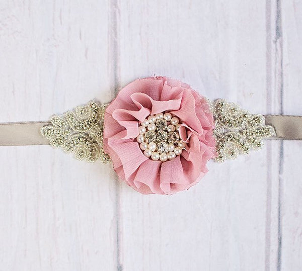 Rustic Flower Girl Sash, Bridesmaid Sash, Rustic Bridal Sash,  Rustic Maternity Sash, Dusty Rose Sash, Mauve Bridal Belt, Flower Girl Sash
