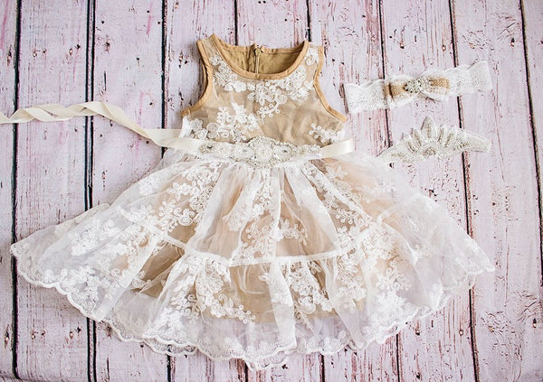 Rustic Flower Girl Dress, Country Flower Girl Dress, Tan Flower Girl Dress, Lace Dress, Lace Rustic Flower Girl Dress, Champagne Dress