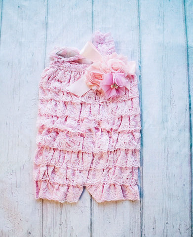 Cake Smash Outfit, Lace Petti Romper, Pink Lace Romper, Petti Romper, Baby Romper, First Birthday Outfit, photo prop, Ruffle Romper