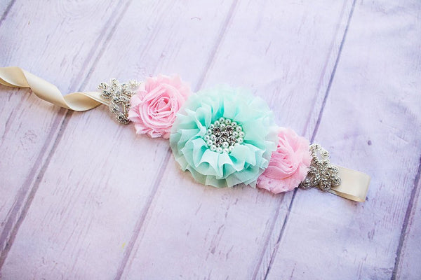 Rustic Bridesmaid Sash, Mint and Pink Bridesmaid Sash, Bridal Belt/Sash, Bridesmaid Sashes, Maternity Sash, Flower Girl Sashes