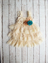 Load image into Gallery viewer, Rustic Flower Girl Dress, Wheat Flower Girl Dress, Tan Lace Dress, Teal Lace Flower Girl Dress, Girls Fall Outfit, Thanksgiving Dress