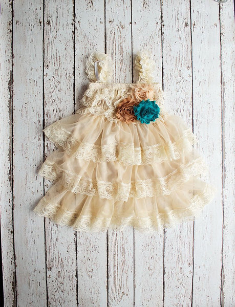 Rustic Flower Girl Dress, Wheat Flower Girl Dress, Tan Lace Dress, Teal Lace Flower Girl Dress, Girls Fall Outfit, Thanksgiving Dress