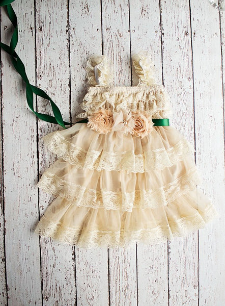 Flower Girl Dress with sash, Wheat Lace Dress,   Rustic Flower Girl Dress, Tan Flower Girl Dress, Lace Dress, Chiffon Flower Girl Dress