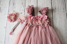 Load image into Gallery viewer, Rustic Lace Mauve Flower Girl Dress, Country Style 1st Birthday Dress